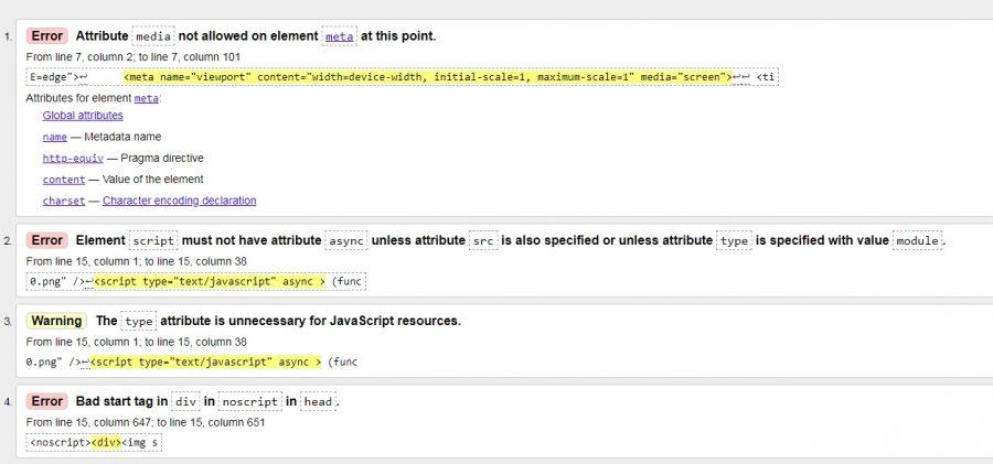 Проверка и анализ кода страниц